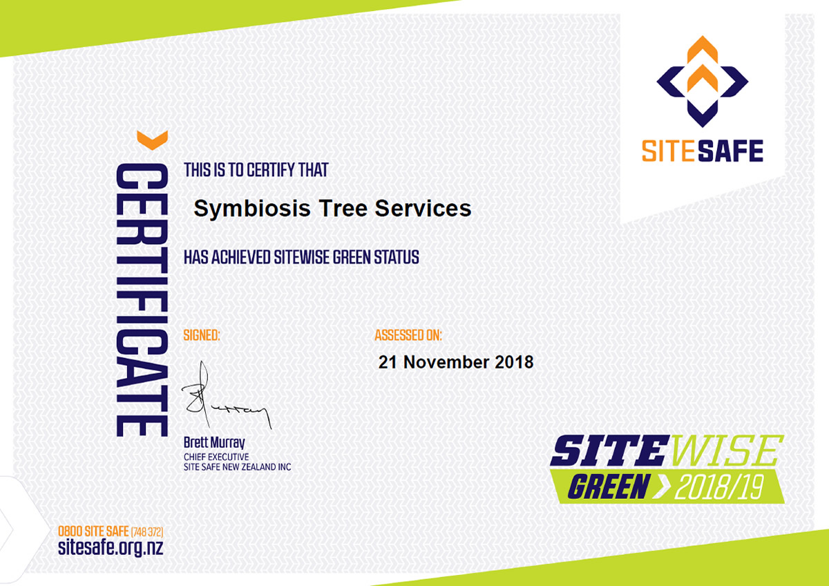 SiteWise green certificate symbiosis tree services 2018-19