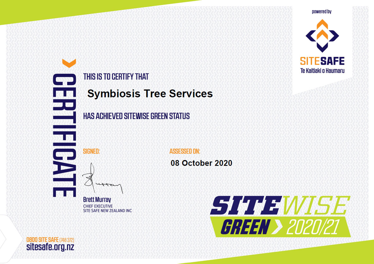 SiteWise Green Certificate Symbiosis Tree Services 2020-21