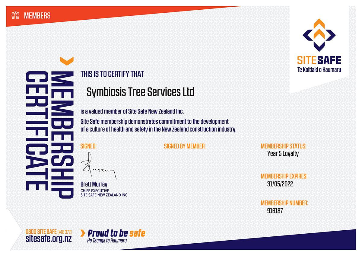 Sitesafe membership certificate